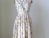 1950s Vintage Cotton Flower Dress