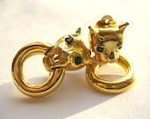 GIVENCHY Gold Cat Door Knocker earrings with green rhinestone eyes to benefit French Bulldog Rescue