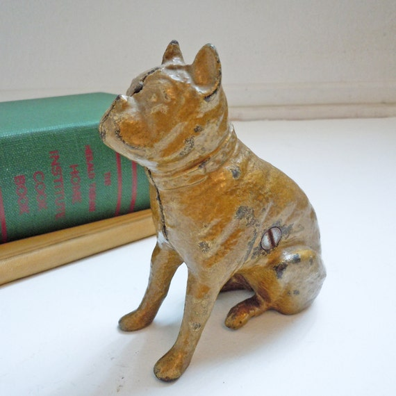 Antique Victorian Cast Iron Bulldog Penny Bank to benefit French Bulldog Rescue