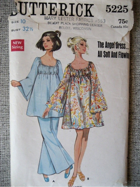 Vintage 1960s Smocked Tent Dress/ Top & Flared Pants Butterick Pattern 5225 Size 10