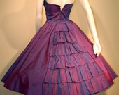 RESERVED 1950s Vintage Purple Blue Irredescent Taffeta-Strapless-Ruffle Shelf Bust-Bustle Back-Full Skirt-Nipped Waist-Formal-Prom
