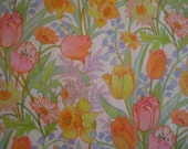 Tulips, Daffodils and Lily of the Valley - Vintage Gift Wrap NOS