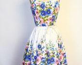 Vintage 50s 60s Floral Dress -  White Blue Pink Sweet Full Sun Dress