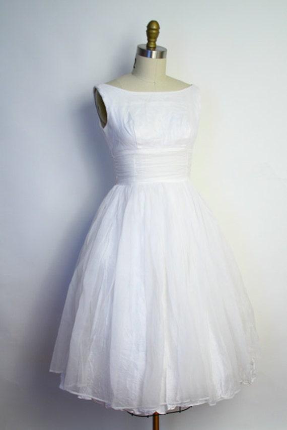 Vintage 50s white wedding dress shelf bust chiffon party for Vintage 50s wedding dresses