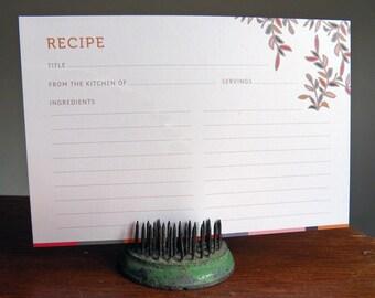 12 Floral Recipe Cards