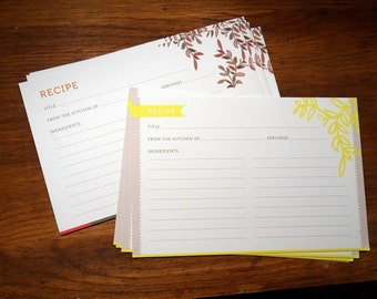 24-Yellow Vine and Floral Recipe Cards