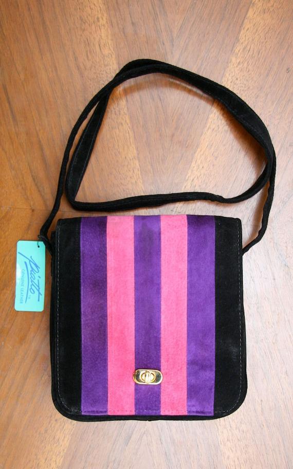 Vintage 80s 90s Striped Suede Bag