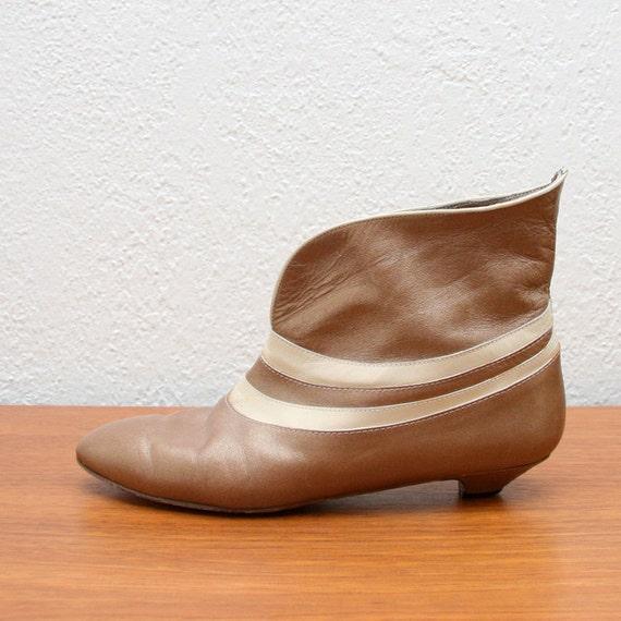 Vintage 60s Bronze Ankle Boots 7 8