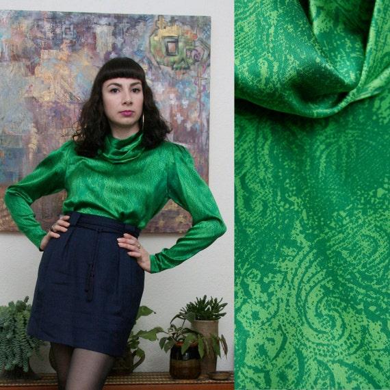 Vintage 80s 90s Green Silk Puff Sleeve Blouse