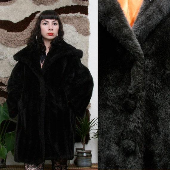 Vintage 60s Black Faux Fur Coat Large