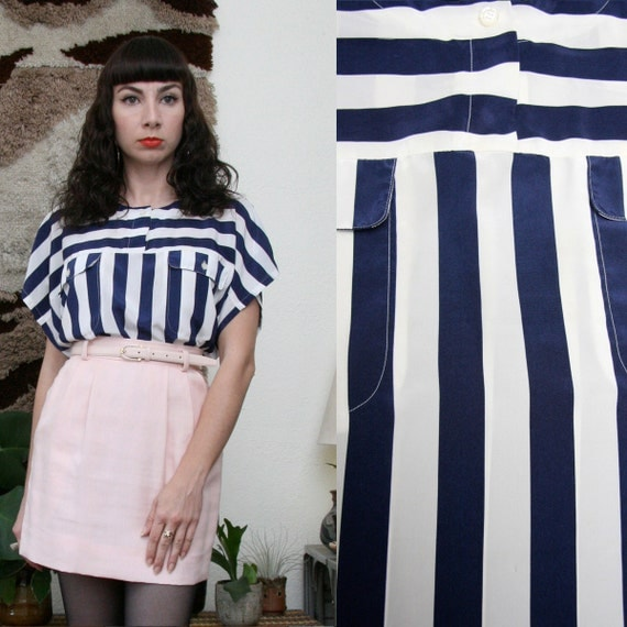 Vintage 90s White and Navy Striped Blouse Large