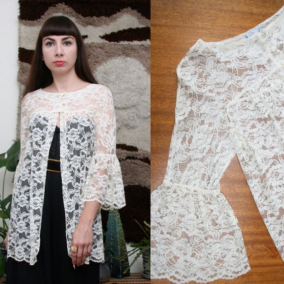 Vintage Bell Sleeve Lace Top Small