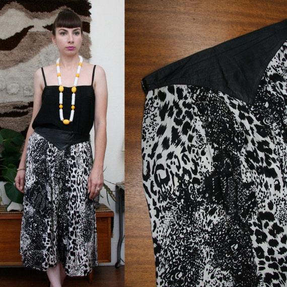 Vintage 80s 90s Animal Print Silk Midi Skirt W/ Leather Waistband Large