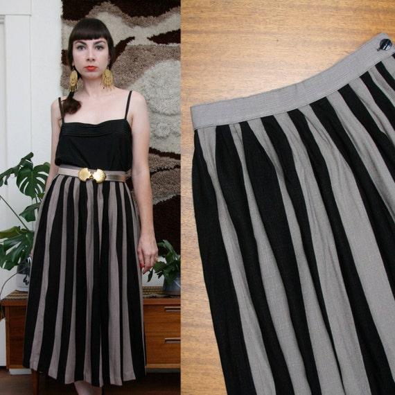 Vintage 80s 90s Striped Midi Skirt Medium