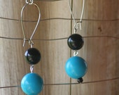 Vintage Recycled Turquoise and Black Earrings