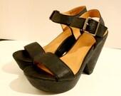 Aldo Black Platform Sandals, Size EU 37/ US 6 1/2