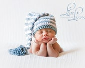 Download PDF crochet pattern 013 - Elf long tail hat with tassel or pompom - Multiple sizes from newborn through age 4