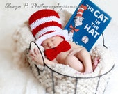 Download PDF crochet pattern 039 - Top hat and bow (tie), Cat in the hat  - Sizes newborn and 0-3mo