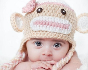 Download PDF crochet pattern 010 - Sock Monkey hat - Multiple sizes from newborn through age 4