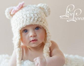 Download PDF crochet pattern 004 - Bear Earflap hat - Multiple sizes from newborn through age 4