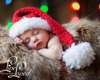 Download PDF crochet pattern 012 - Little Santa hat - Multiple sizes from newborn through age 4