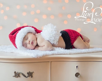 Download PDF CROCHET PATTERN - Little Santa hat, diaper cover and mini-blanket