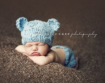 Download PDF knitting pattern k-03 - Knit Newborn Baby-bear hat and diaper cover