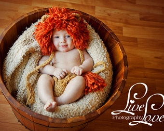 Download PDF crochet pattern - Lion King bonnet and diaper cover