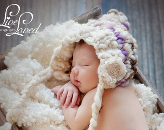Download PDF knitting pattern k-19 - Newborn Handspun Pixie bonnet