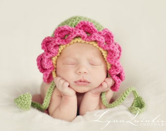 Download PDF crochet pattern 037 - Flower bonnet