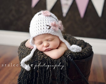 Download PDF crochet pattern 029 - Cherry Blossom earflap hat - Multiple sizes from newborn through age 4