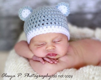 Download PDF crochet pattern 041 - Kitty hat - Multiple sizes from newborn through age 4