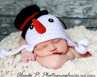 Download PDF crochet pattern 044 - Snowman earflap hat - Multiple sizes from newborn through 12 months