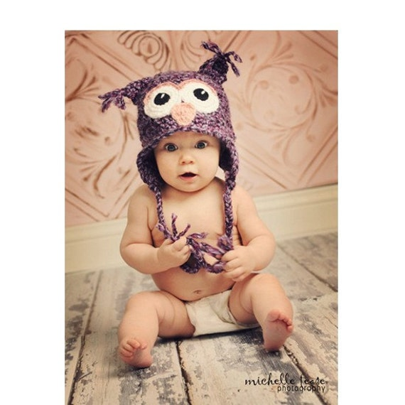Download PDF crochet pattern 002 - Baby Owl hat- Multiple sizes from newborn through 12 months