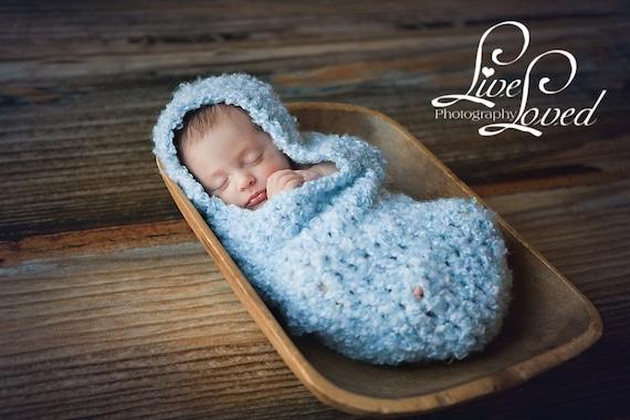 Download PDF crochet pattern s004- Newborn Hooded Cocoon