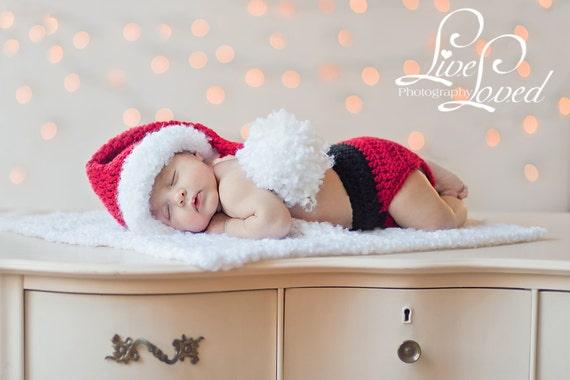 Download PDF CROCHET PATTERN - Little Santa hat, diaper cover and mini-blanket