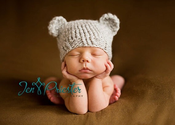 Download PDF knitting pattern k-01 - Newborn Baby-bear hat