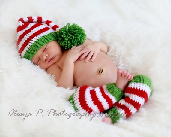 Download PDF knitting pattern k-16 - Newborn Stripe Stocking hat and leg warmers - Phptpgraphy prop - Christmas