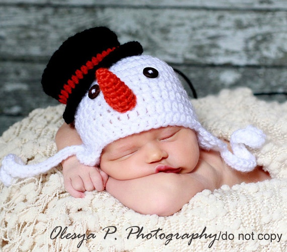 Download PDF crochet pattern 044 - Snowman earflap hat - Multiple sizes from newborn through 12 months
