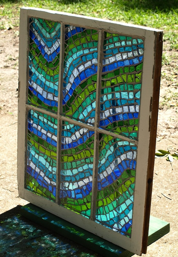 "RESERVED LISTING for fleurme Stained Glass Mosaic Repurposed Old Window ""The 3rd Wave"""