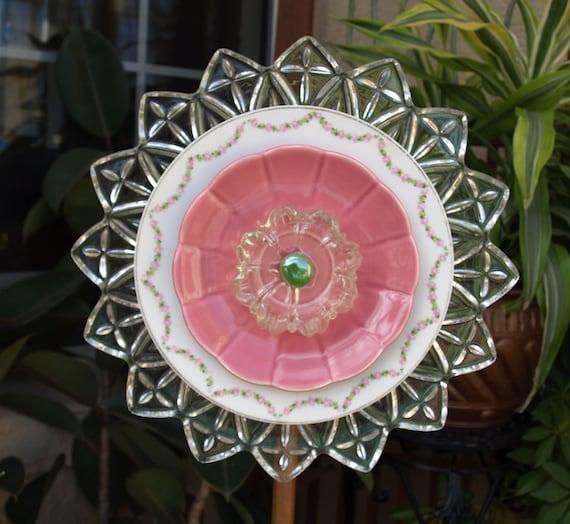 federal petal Glass Plate Flower No-Kill Ever-Blooming garden art ooak repurpose vintage pink