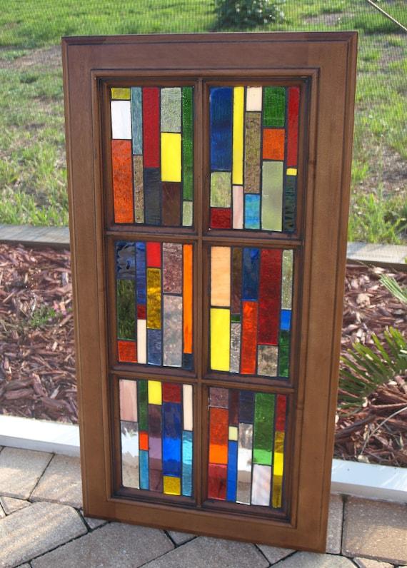"Stained Glass Mosaic Window Wood ""Vertiglo B"" Repurpose Vintage  Cabinet Door"