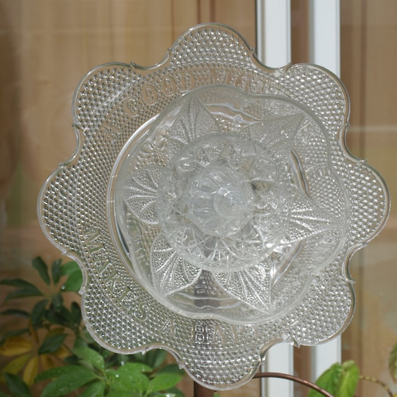 Vintage Repurpose Glass Plate Flower Garden Art Mother Ooak