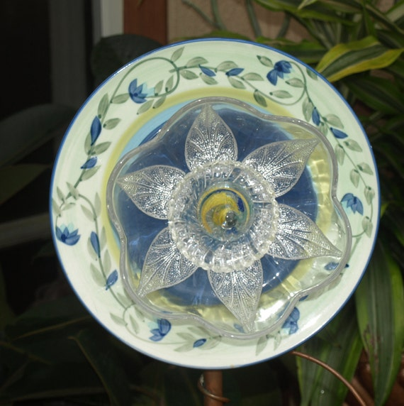 Vintage Repurpose Glass Plate Flower Garden Art Blue Green