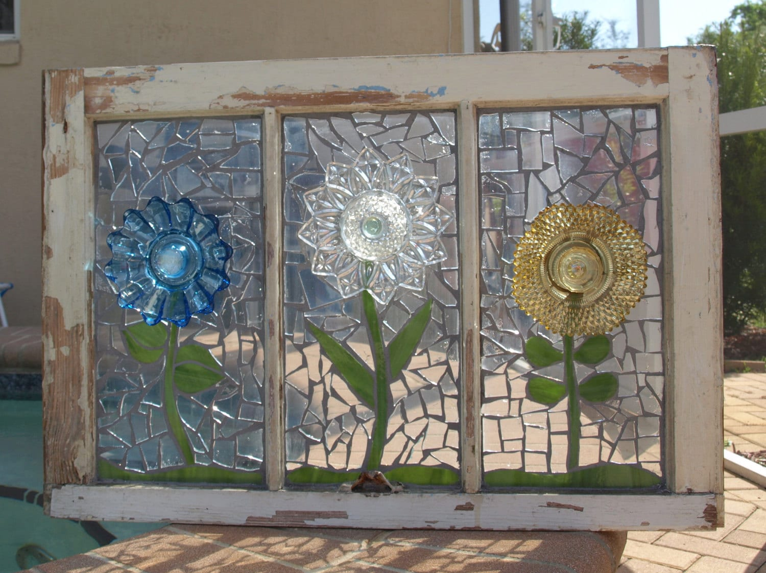 repurpose stained glass mosaic window glass plate flowers. Black Bedroom Furniture Sets. Home Design Ideas