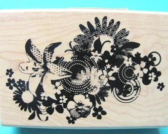 Cute Flower Bouquet  Mounted Rubber Stamp - New