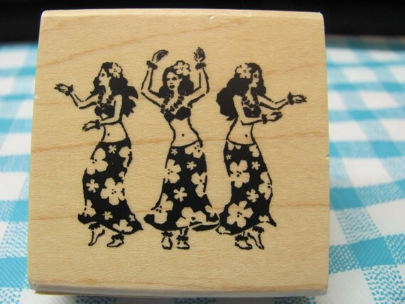 Inkadinkado Hawaiian Dancing Ladies Rubber Stamps