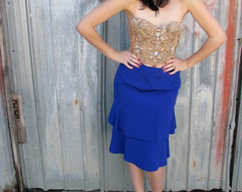Vintage 1980s Electric BLUE PENCIL Skirt with Ruffle hem