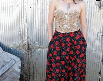 Vintage 1980s ROSE Print MAXI Skirt with pockets