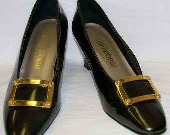 Vitnage 1970s California Magdesians Patent SHOES with Gold BUCKLE